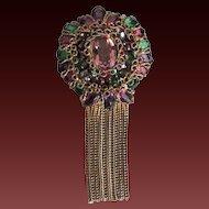 Vintage Robert Rhinestone Pin Brooch or Pendant Designer Signed