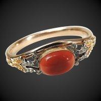 Victorian Bracelet Gold Filled Coral Glass