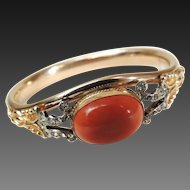 Victorian Bracelet Gold Filled Coral Glass