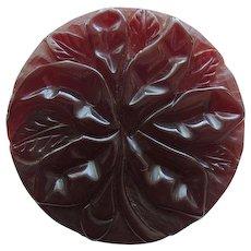 Bakelite Pin Deeply Carved Burgundy Translucent c1940's