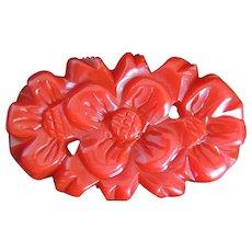 Bakelite Pin Deeply Carved Red Dimensional Flower