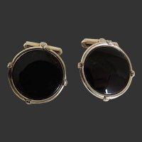Cufflinks  Black Onyx Set In Gold Filled