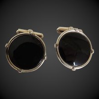 Cufflinks  Black Onyx Set In Gold Filled