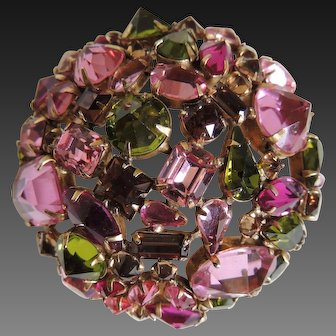 Schreiner Rhinestone Pin Mutli Colored Signed c1940's