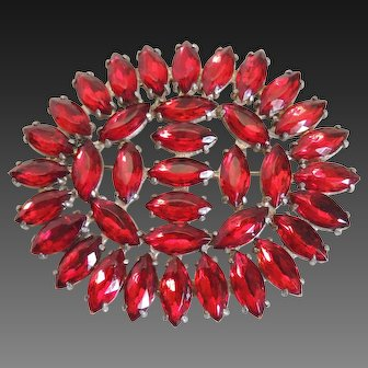 Rhinestone Pin Art Deco Czech Red Marquis Stones c1930's