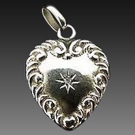 Victorian Puffy Heart Locket 14K Diamond