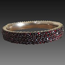 Victorian Garnet Bangle Bracelet Early 20th Century