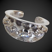 Large Statement Sterling Cuff Bracelet with CZ's Taxco Mexico c1980's
