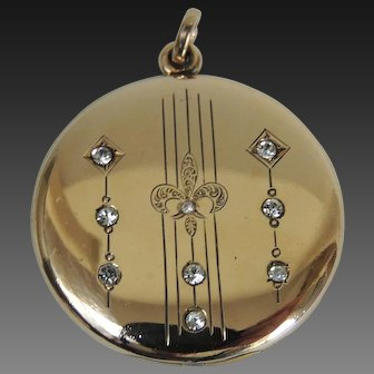 Art Nouveau Locket Rhinestones Gold Filled c1920's