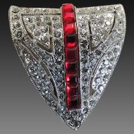 Rhinestone Dress Clip Art Deco Ruby Red c1930's