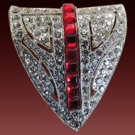 Rhinestone Dress Clip Art Deco Ruby Red c1930's