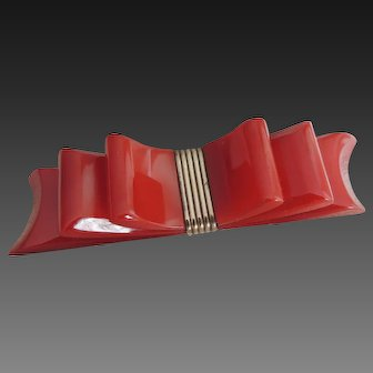 Bakelite Pin Ribbon Bow Red Carved c 1940's