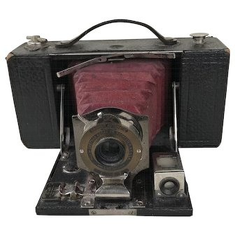 Kodak #2 Folding Brownie Camera with Burgundy Bellows