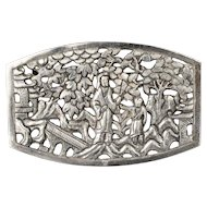 gorgeous Deco French Indochina silver repousse Pin Brooch ~ intricate village scene design