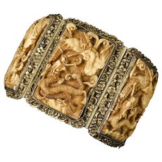 antique Chinese silver gilt and carved pai gow tiles wedding Bracelet ~ cricket, phoenix and dragon symbols