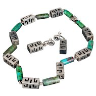"18"" Mexican silver and stone Necklace Earrings set"