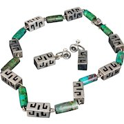 superb Mexican silver Necklace and Earrings set ~ chunky sterling shadowbox and azur malachite cylinder links