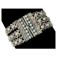 vintage 1950s Greek silver and faux turquoise Bracelet ~ romantic three strand floral design