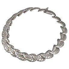 Los Castillo Mexican silver Necklace ~ Taxco repousse leaves des no 560
