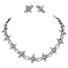 """19"""" Victoria Mexican silver Necklace and Earrings set ~ classic Ana Nunez Brilanti sterling Taxco demi"""