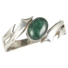 vintage Mexican silver and chrysoprase hinged Bracelet ~Eagle 3 Taxco modernist design