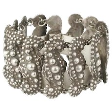 luxurious Mexican Deco silver repousse Bracelet ~ Taxco sterling paisley design