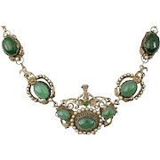 rare Italian Deco silver pearls and chrysoprase Necklace ~ figural Austro Hungarian Renaissance Revival style