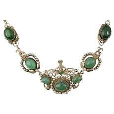 Italian Deco silver pearls and chrysoprase Necklace