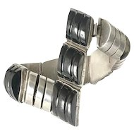 early Deco Mexican silver black onyx Bracelet ~ dramatic geometric design