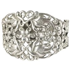 bold Danecraft sterling silver hinged Bracelet with earlier Deco component