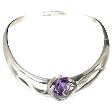 spectacular Mexican modernist silver and huge amethyst Necklace