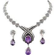 Margot de Taxco Mexican silver Necklace Earrings set with detachable Brooch Pendant des. 5272