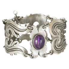 ornate Taxco Mexican 980 silver and amethyst Bracelet