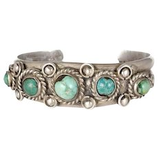 vintage Navajo silver and graduated turquoise cabs Cuff Bracelet