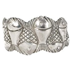 heavy Taxco Mexican silver row of fish Cuff Bracelet