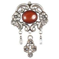 "4"" Georg Halling Danish 830 silver Art Nouveau skonvirke Brooch with amber and moonstones"