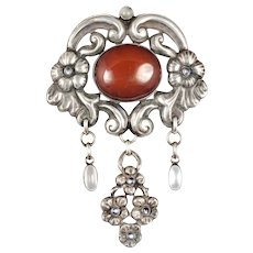 "4"" Georg Halling Danish 830 silver Art Nouveau skonvirke Brooch with amber and moonstones"