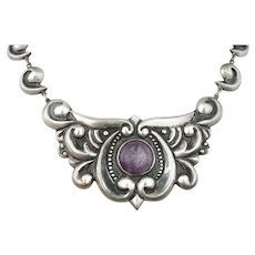 "18.5"" Mexican Deco silver repousse pectoral Necklace with amethyst"
