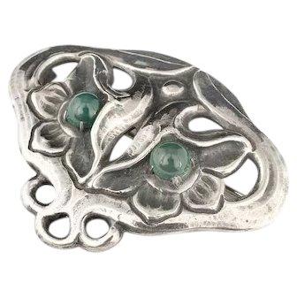 ca 1910 Marius Hammer Art Nouveau 835 silver chrysoprase Pin Brooch Norway