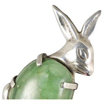 big Mexican Deco silver and stone Pin Brooch Bunny Rabbit with Egg