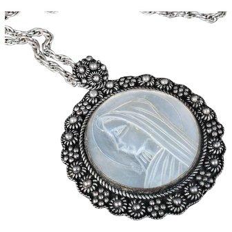 Deco Jerusalem silver and mop cameo Madonna Pendant Necklace