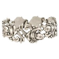 early Los Castillo Mexican silver Bracelet repousse koi fish