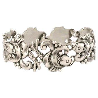 early Los Castillo Mexican silver Bracelet repousse koi fish