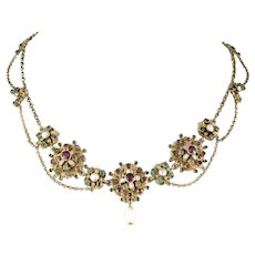 antique Austro-Hungarian silver festoon Necklace garnets enamel pearls