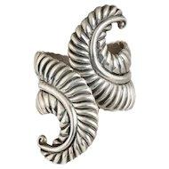 dramatic Mexican silver fern Clamper Bracelet