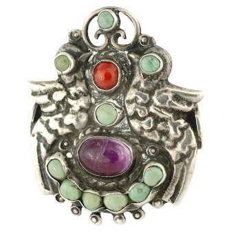 "huge CEL Mexican silver ""palomas"" Ring jeweled Mexico City repoussse"