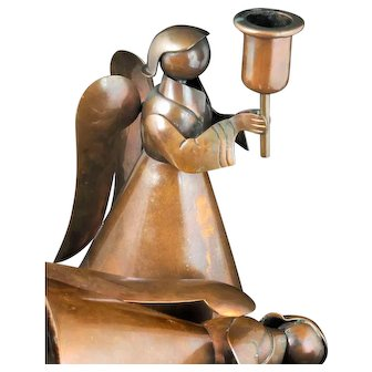 "7"" Teran for Los Castillo Mexican copper angel Candleholders - set of 2"