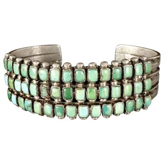 vintage Zuni silver and turquoise petit point Cuff Bracelet