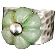 Los Castillo Mexican silver Ring with Chinese carved jade pumpkin bead