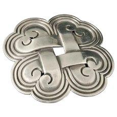 Hector Aguilar 940 Mexican silver quatrefoil Pin Brooch